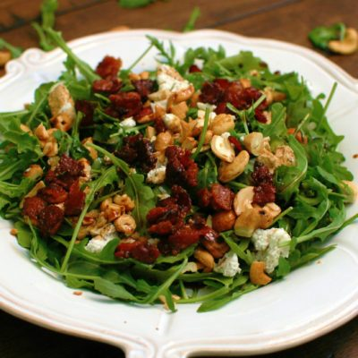 Arugula Salad with Candied Bacon and Goat Cheese