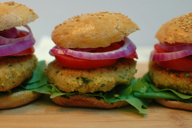 Roasted Garlic Chickpea Burgers