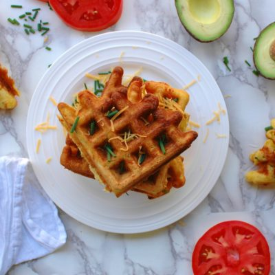 Cornmeal Cheddar Chive Waffles