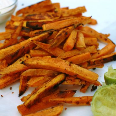 Sweet Potato Garlic Fries with Lime Aioli