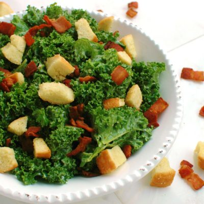 Kale Bacon Caesar Salad with Garlic Bread Croutons