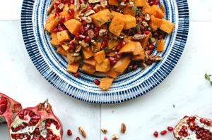 Herb Roasted Sweet Potatoes with Pomegranate and Pecans
