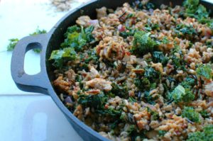 Turkey, Kale, and Wild Rice Skillet || For the Love of Gourmet