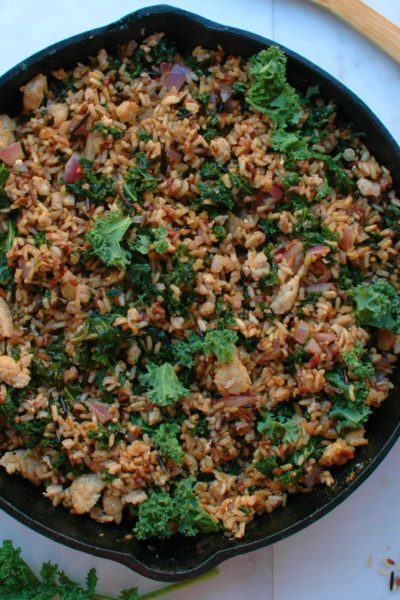 Turkey, Kale, and Wild Rice Skillet