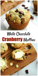 White Chocolate Cranberry Muffins || For the Love of Gourmet