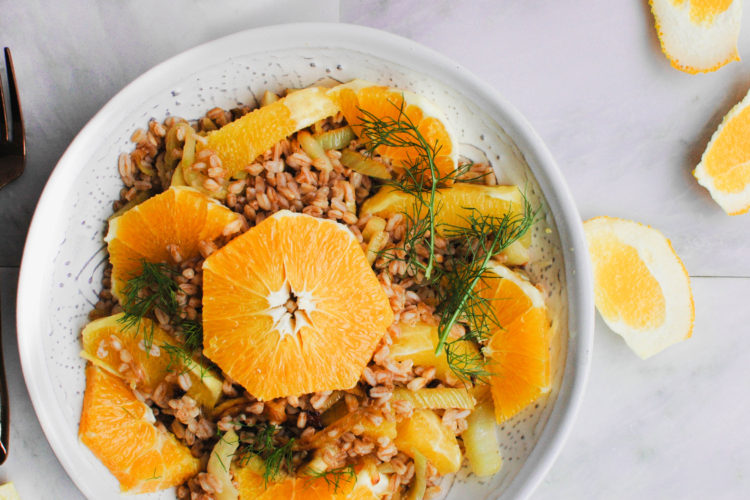 Farro with Caramelized Fennel and Oranges